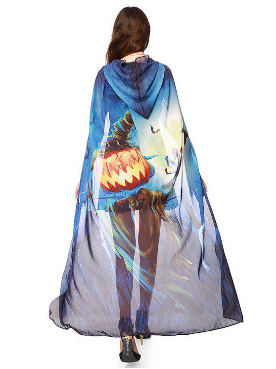 Cape en Mousseline Imprimé Élément D'Halloween à Capuche - Bleu