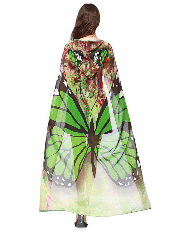 Chifon Butterfly Design Festival Hooded Cape - Verde