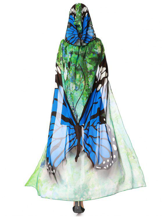 Chifon Butterfly Design Festival Hooded Cape - Azul