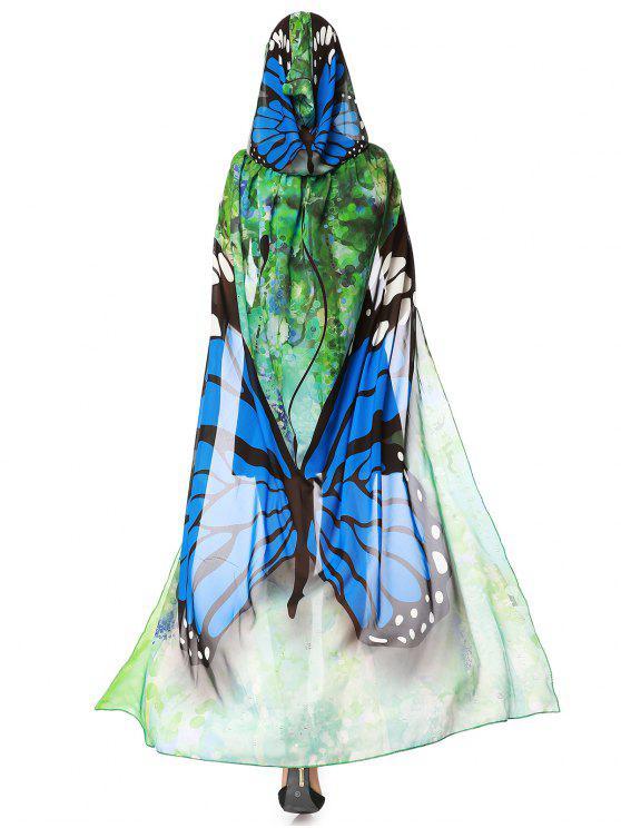 Cape aus Chiffon mit Kapuze und Schmetterlings-Entwurfs für Fest - Blau