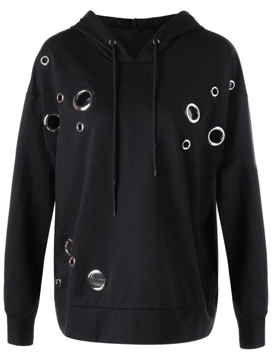 unique Metal Ring Plus Size Hoodie - BLACK XL
