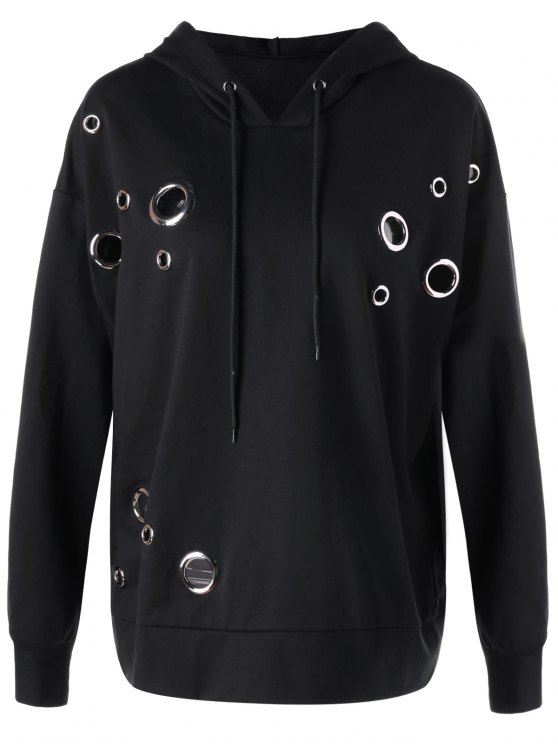 sale Metal Ring Plus Size Hoodie - BLACK 2XL