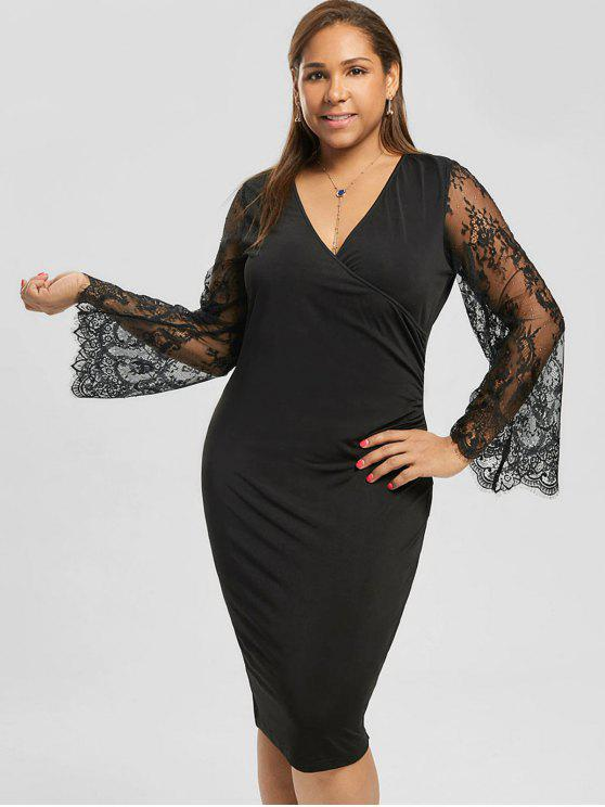 Plus Size Lace Sleeve Pencil Dress