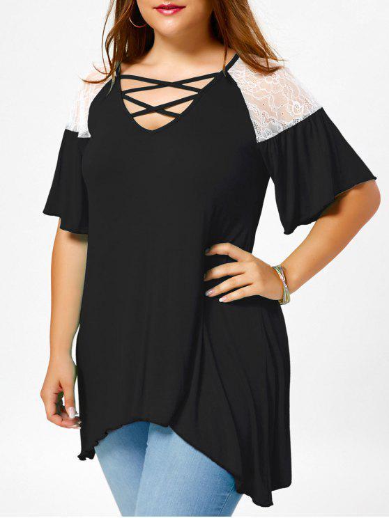 T-Shirt A Tunica Plus Size A Spalle Oblique Con Lacci Incrociati - Bianco e Nero 3XL