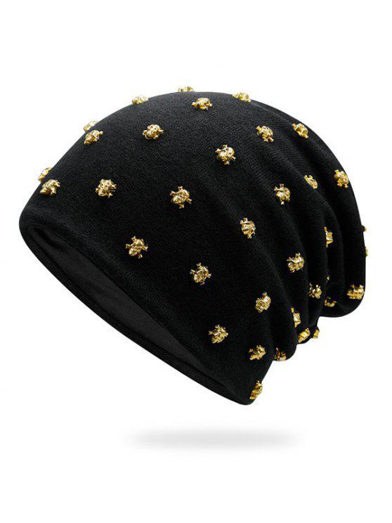 صغيرة الجمجمة برشام مزين قبعة صغيرة - الذهب الأسود