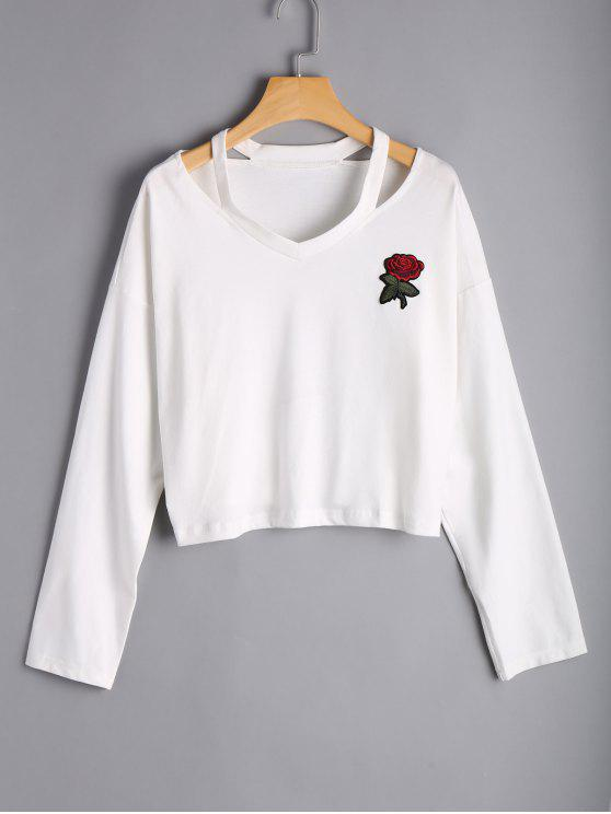 Top hombro bordado en rosa de Rose - Blanco S