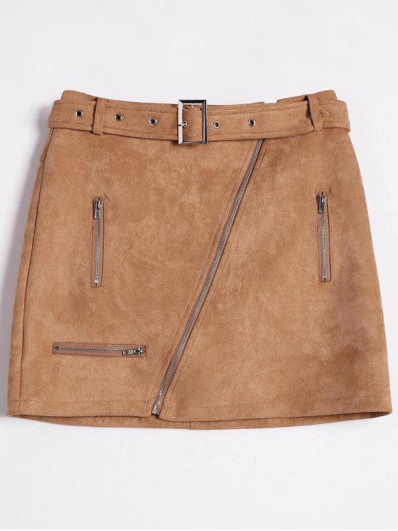 Zipper Faux Suede Skirt - Khaki S