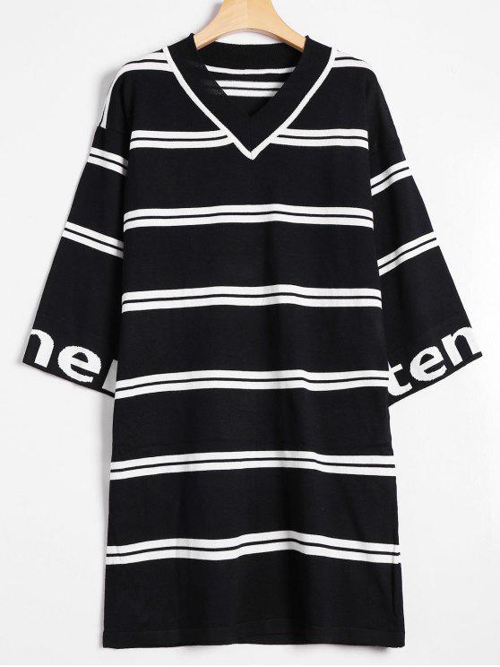 outfits Drop Shoulder Striped Knitted Dress - BLACK ONE SIZE