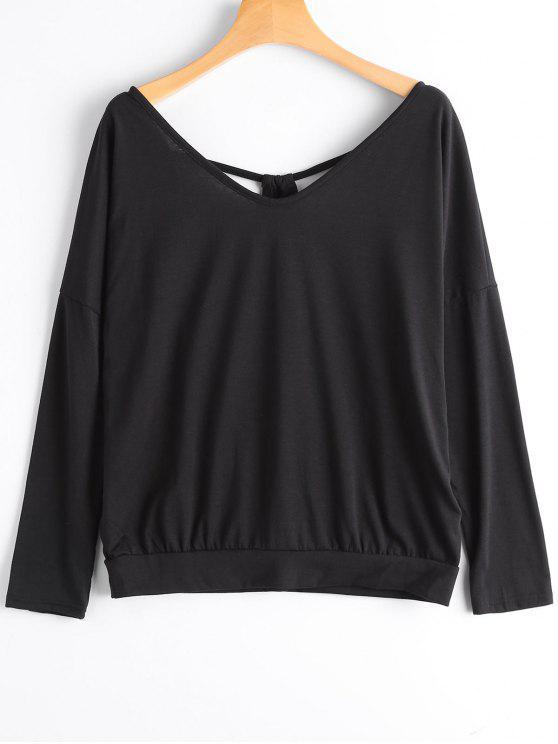 new Cut Out Open Back V Neck T-shirt - BLACK S