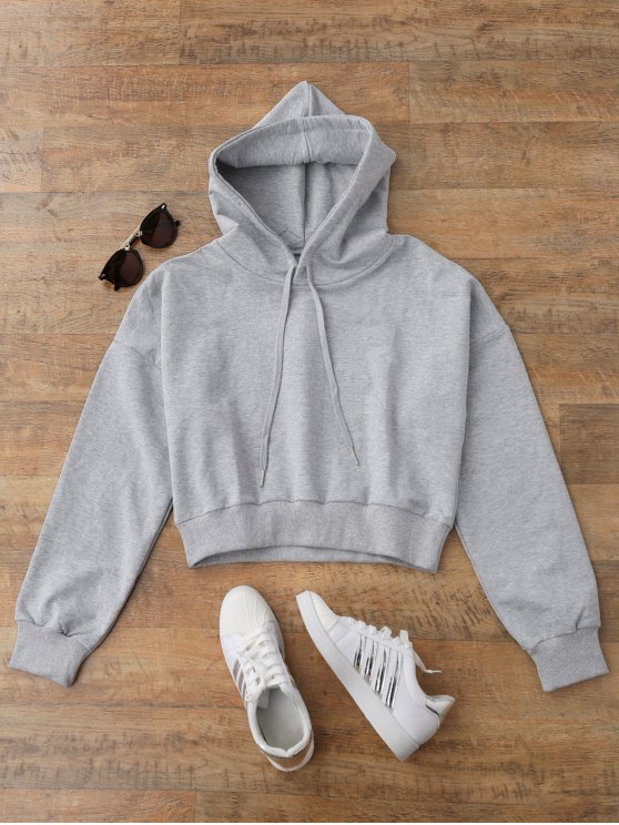 trendy Drop Shoulder Cropped Hoodie - GRAY M