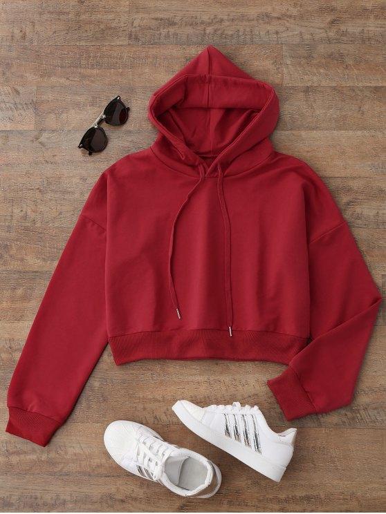 Drop hombro Cropped sudadera con capucha - Rojo M