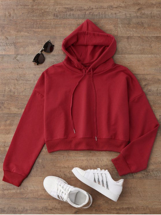 sale Drop Shoulder Cropped Hoodie - RED S