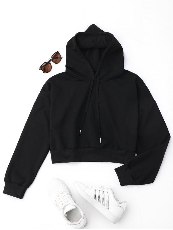 women Drop Shoulder Cropped Hoodie - BLACK S