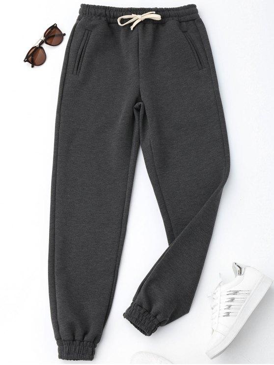 Calças Desportivas com Cordão - Cinza Escuro M