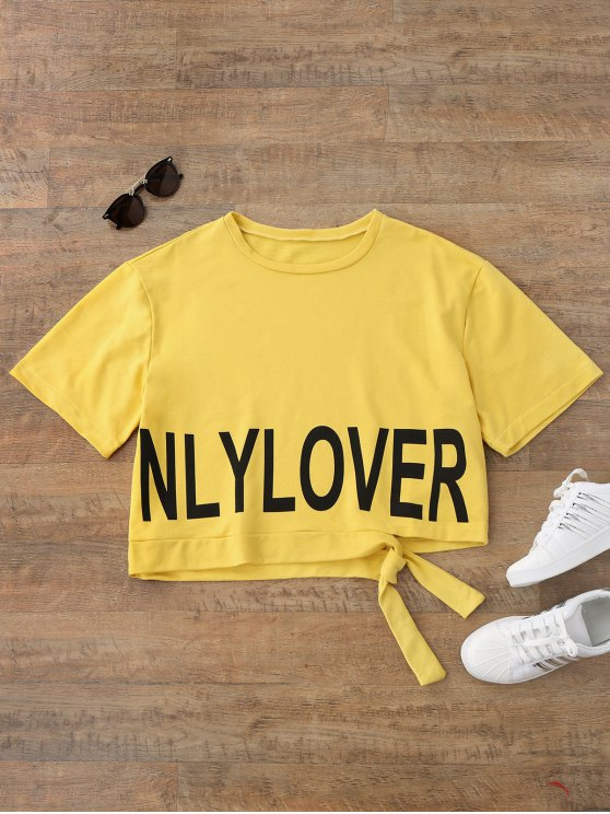 Casual Letter Tie Side Top - Amarelo S