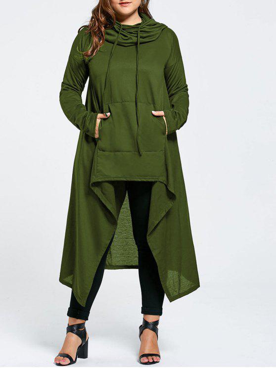 Plus Size Funnel Collar Maxi Asymmetric Hoodie - Verde 4XL