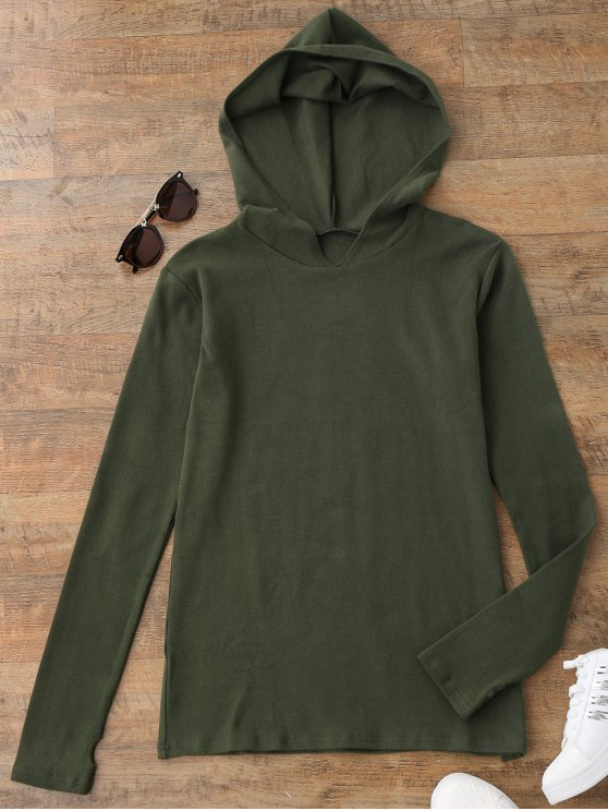 ladies Pullover Thumbhole Hooded Top - ARMY GREEN S