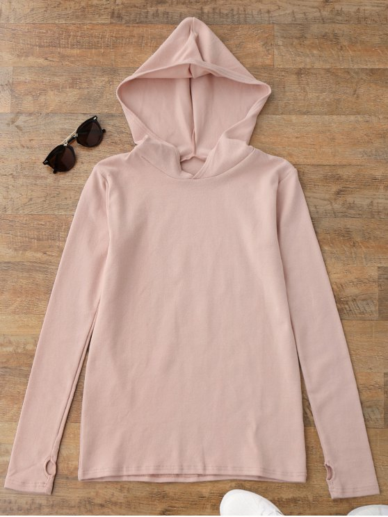 best Pullover Thumbhole Hooded Top - SHALLOW PINK S