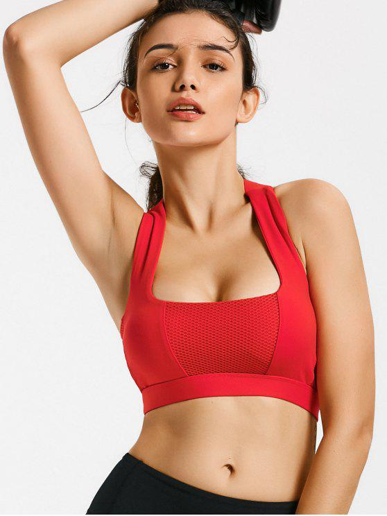 Mesh Panel Crisscross Cutout Sports Bra - Rojo XL