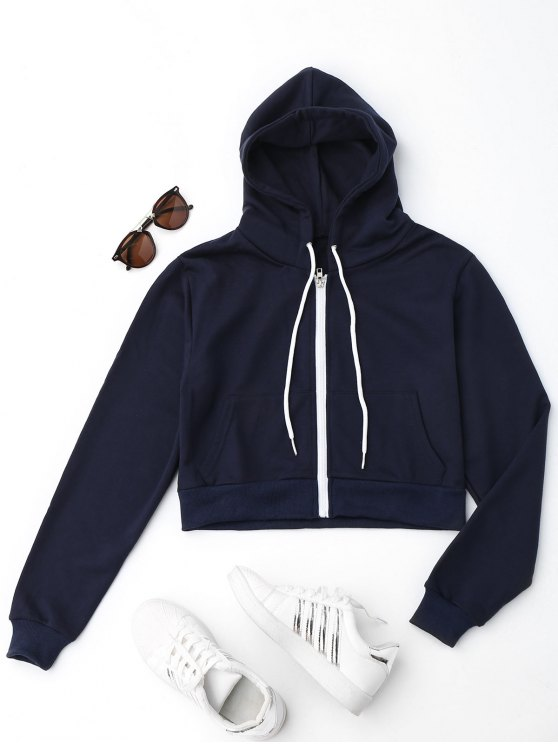 Front Pockets Cropped Zip Up Hoodie - Azul Escuro M