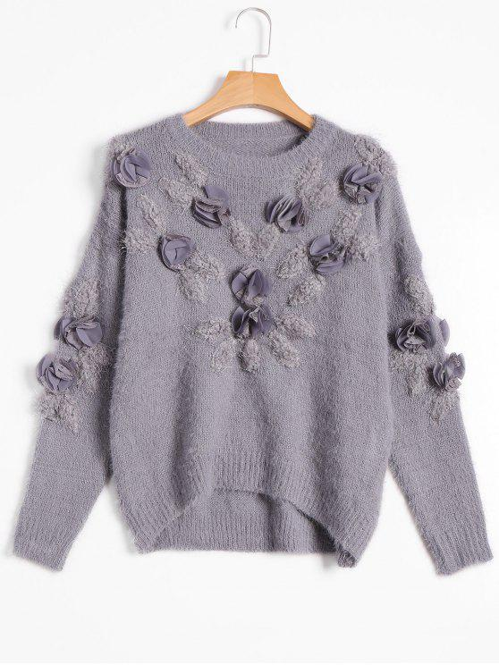 outfits Patched Fuzzy Bowknot Applique Sweater - GRAY ONE SIZE