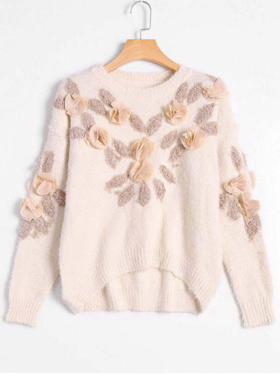 shop Patched Fuzzy Bowknot Applique Sweater - OFF-WHITE ONE SIZE