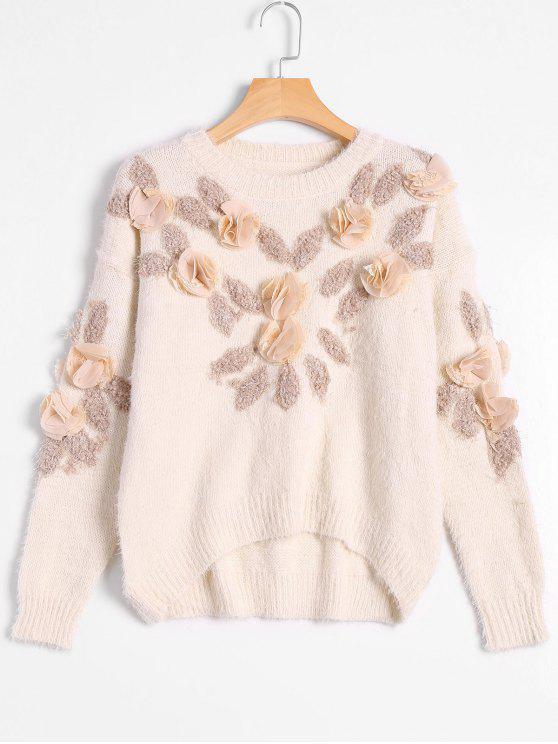 Patched Fuzzy Bowknot Applique Suéter - Blancuzco Única Talla