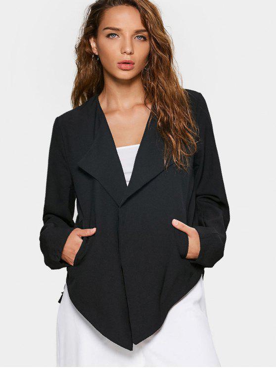sale Open Front Long Sleeve Asymmetrical Blazer - BLACK L