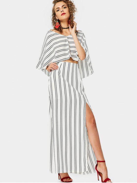 unique Capelet Top and Slit Striped Skirt Set - STRIPE XL