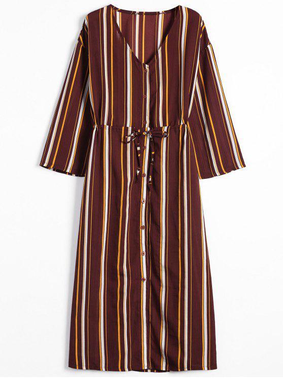 فستان ماكسي مخطط زر طويلة الأكمام - شريط S