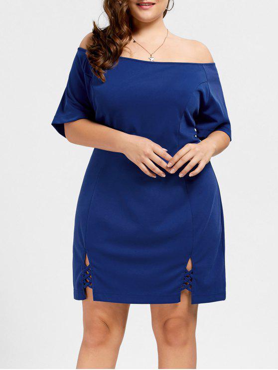 فستان الحجم الكبير راجلان الأكمام - أزرق XL