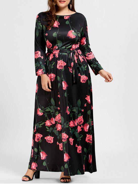 فستان ماكسي بطبعة ورود ذو مقاس كبير - أسود 3XL