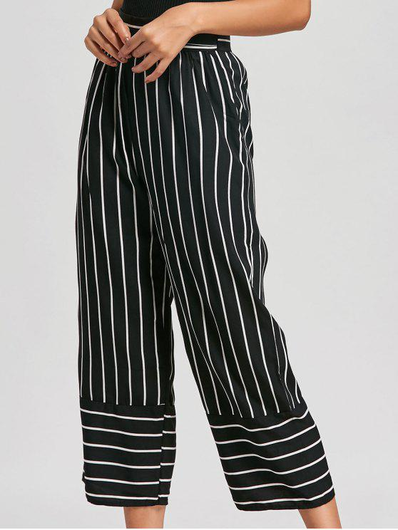outfit High Waist Striped Palazzo Pants - BLACK S