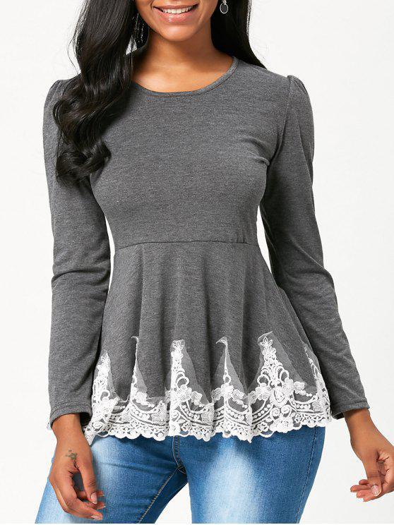 High Waisted Lace Trim Langarm T-Shirt - Grau XL