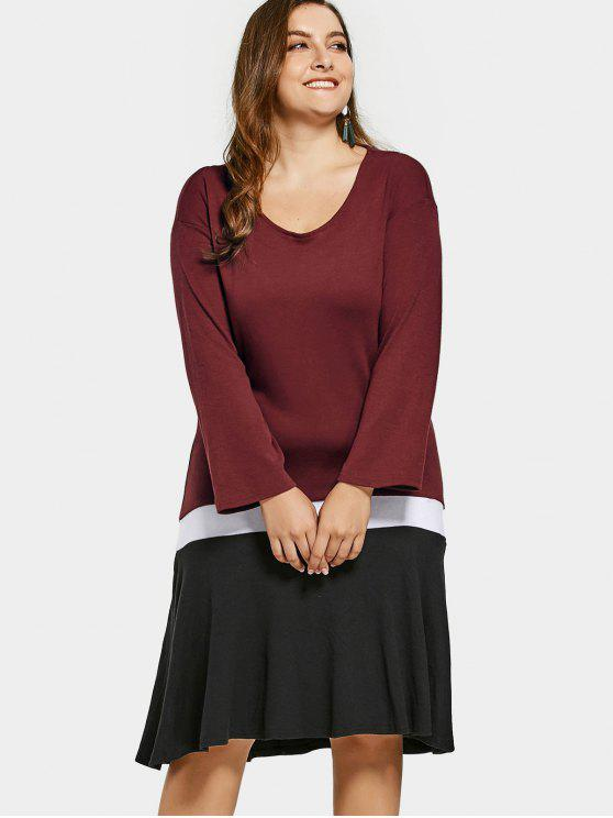 Long Sleeve Color Block Plus Size Dress - Vinho vermelho 2XL