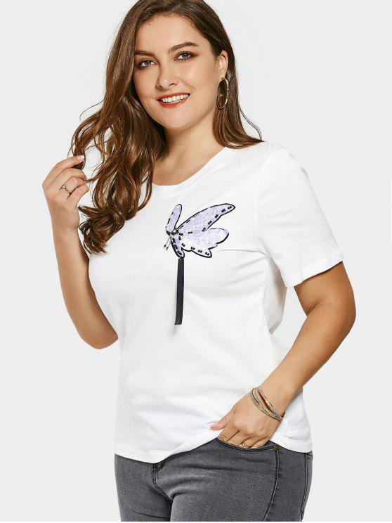 Sequins Beaded Patched Plus Size T-shirt - Branco 4XL