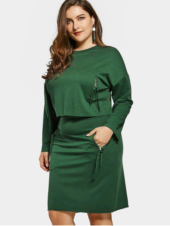 hot Plus Size Zippered Pocket Top and Pencil Skirt - GREEN 2XL