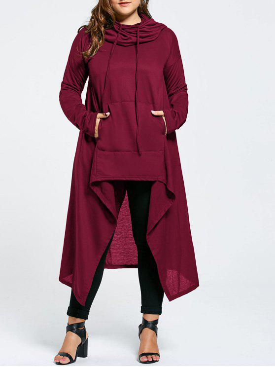 women Plus Size Funnel Collar Maxi Asymmetric Hoodie - WINE RED 8XL