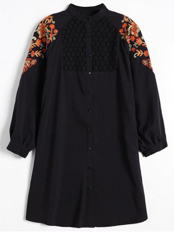 new Floral Embroidered Lace Panel Shirt Dress - BLACK M