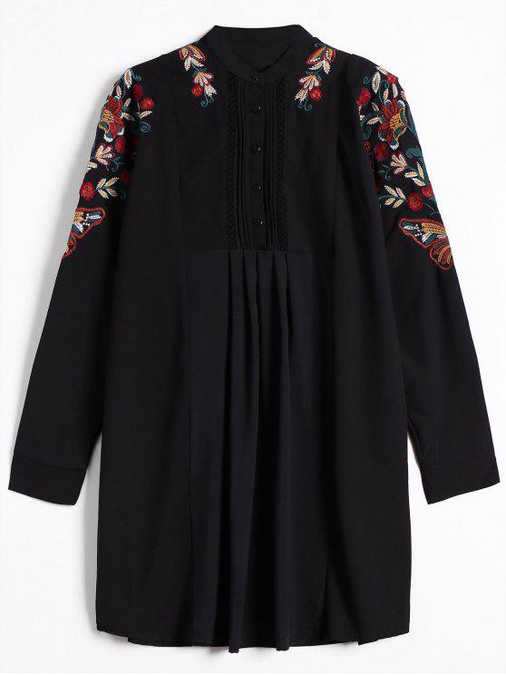 fashion Half Button Embroidered Long Sleeve Shirt Dress - BLACK M