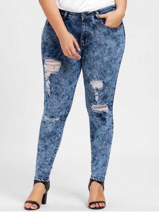 e800521adcb 2019 Plus Size Ripped Skinny Zipper Jeans In DENIM BLUE XL