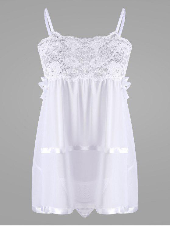 f9e86bed1e41d قميص نوم شفاف قصير بتداخل الدانتيل - أبيض L