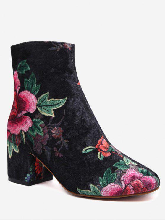 Kurzer Stiefel aus Samt mit Blumenmuster und Blockabsatz - Schwarz 38