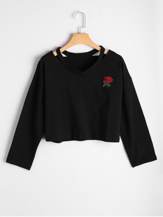 Top hombro bordado en rosa de Rose - Negro S