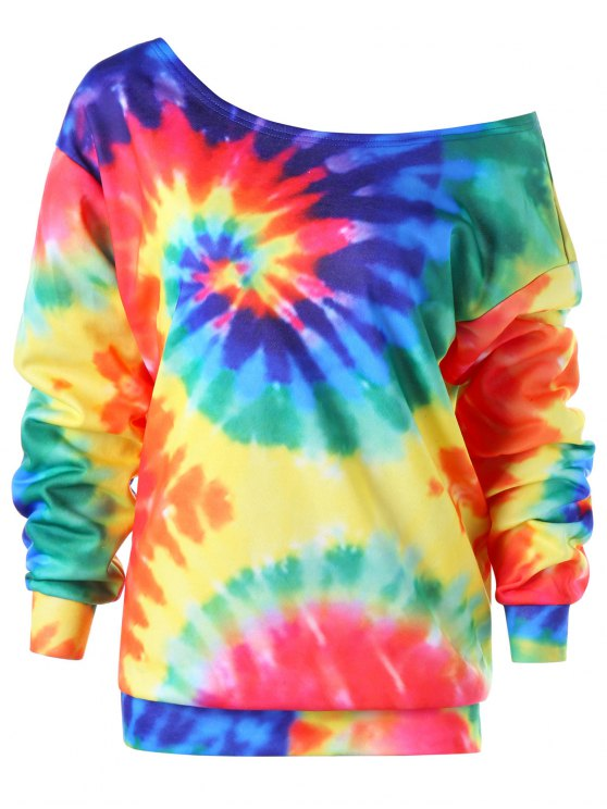 shops Skew Collar Tie Dye Sweatshirt - COLORMIX 4XL