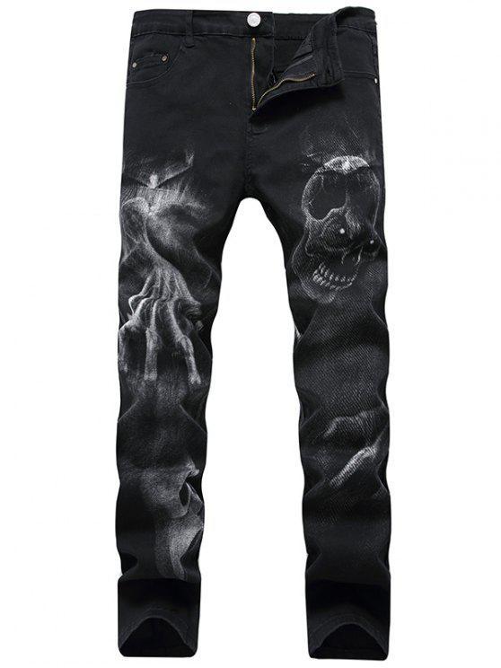 Skull Pattern Zip Fly Jeans - Preto 36