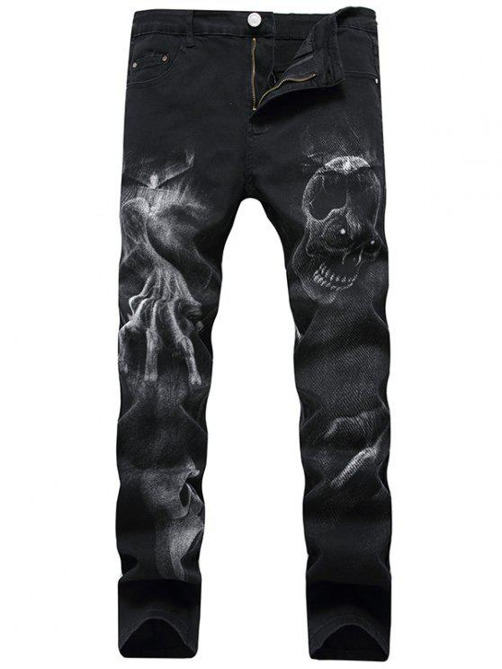 hot Skull Pattern Zip Fly Jeans - BLACK 42