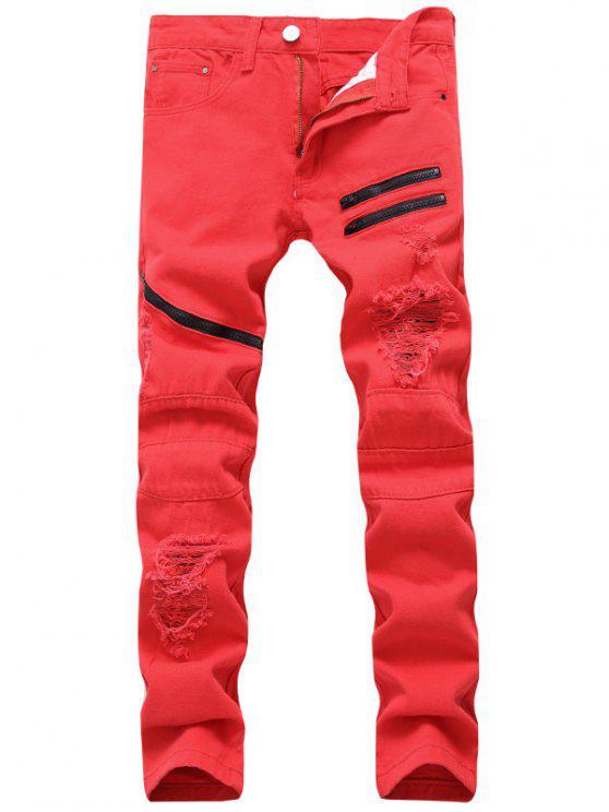 Zip Embellished Distressed Jeans - Vermelho 36