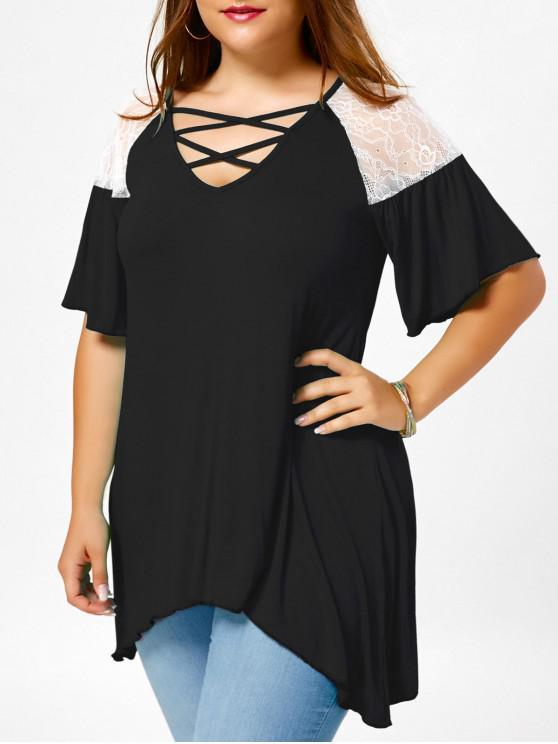 T-shirt Grande Taille Tunique Croisé à Manches Évasées - Blanc et Noir XL
