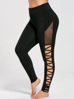Plus Size Cutout Skinny Pants - Black Xl